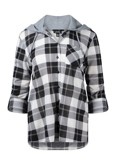 Women's Hooded Plaid Shirt, BLK/WHT, hi-res