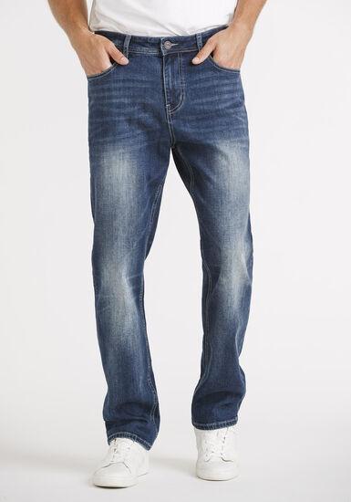 Men's Dark Blue Slim Straight Jeans, DARK WASH, hi-res
