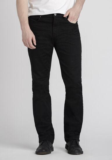 Men's Slim Straight Black Jeans, BLACK, hi-res