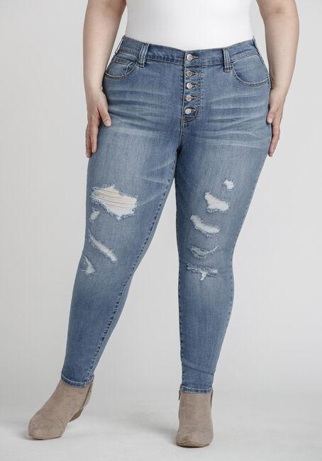 Women's Plus Size Mid Wash Distressed SkinnyJeans