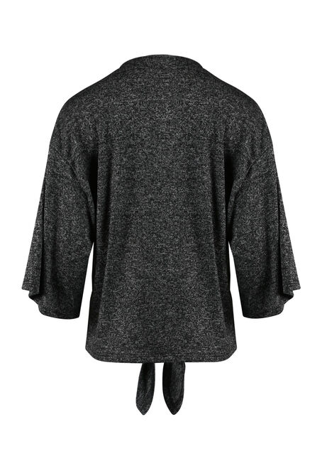 Women's Tie Front Cardigan, CHARCOAL, hi-res