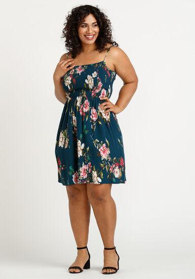 Women's Floral Smocked Dress, TEAL, hi-res