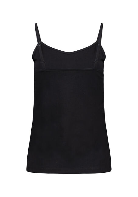 Women's Adjustable Strappy Tank, BLACK, hi-res