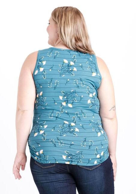 Women's Floral Print Super Soft Tank, BERMUDA BLUE, hi-res