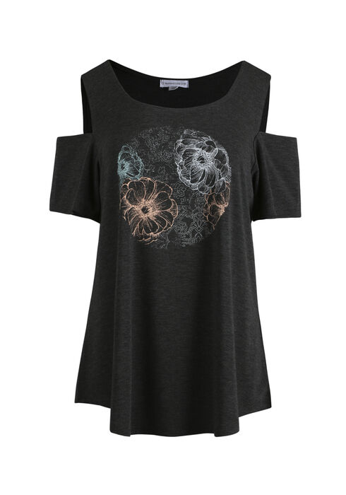 Women's Floral Circle Cold Shoulder Top, CHARCOAL, hi-res