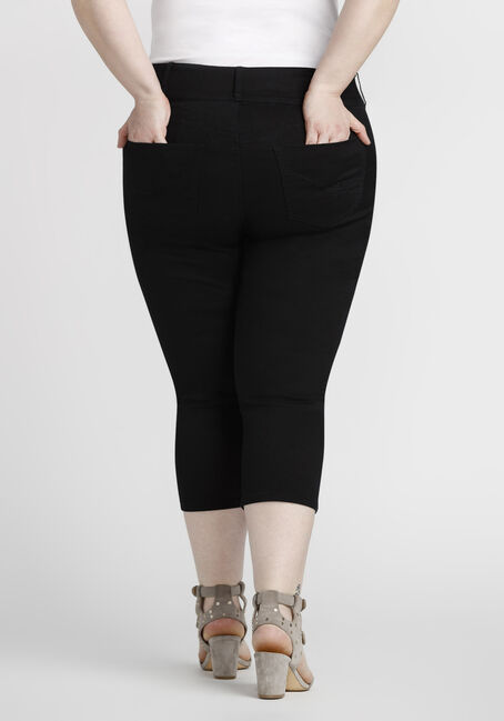 Women's Plus Size Coloured Skinny Capri, BLACK, hi-res