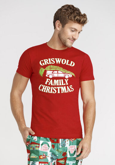 Men's Family Vacation Tee, RED, hi-res