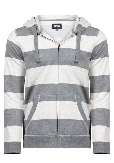 Men's Striped Zip Up Hoodie, GREY, hi-res