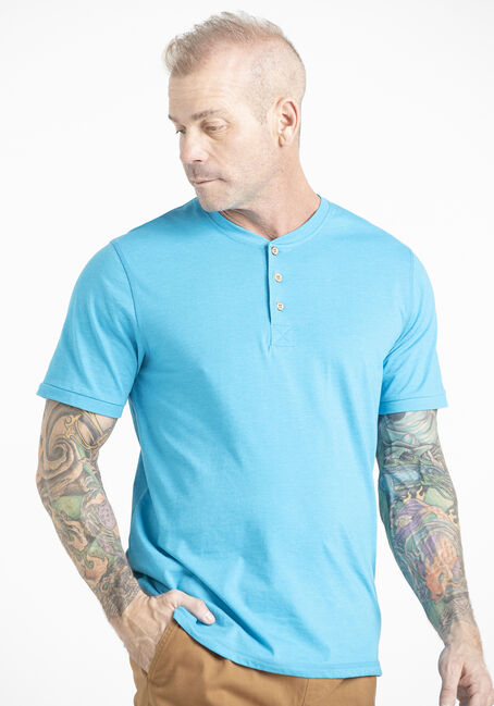 Men's Single Dye Henley Tee