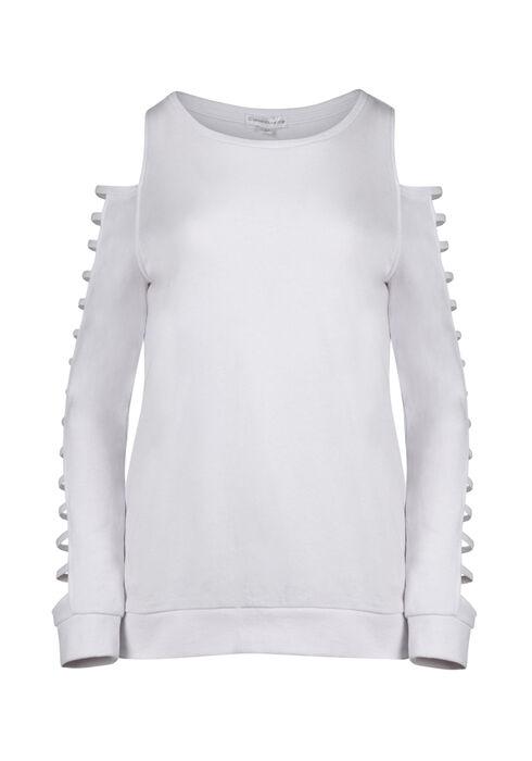 Women's Ladder Sleeve Fleece, WHITE, hi-res
