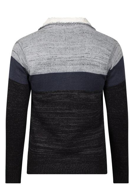 Men's 1/4 Zip Colourblock Sweater, BLACK, hi-res