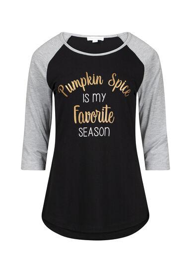 Womens Pumpkin Spice Baseball Tee, BLACK, hi-res