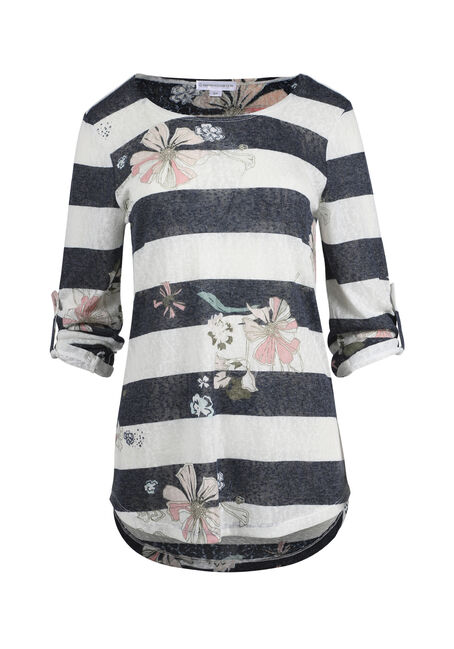 Ladies' Floral Stripe Tunic Tee