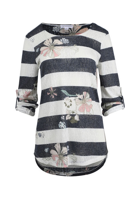 Women's Floral Stripe Tunic Tee, NAVY/WHITE, hi-res