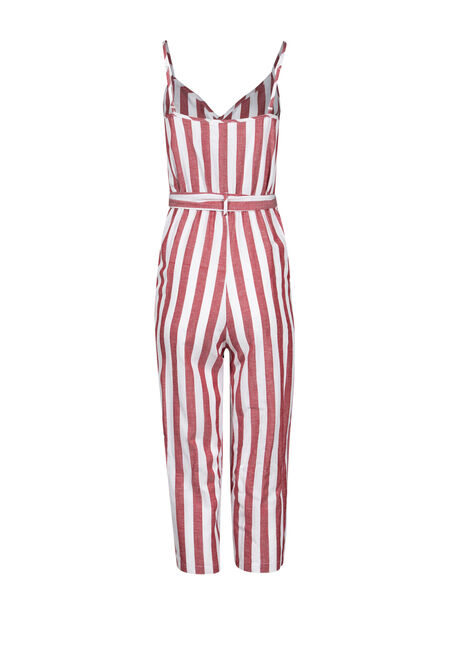 Women's Stripe Jumpsuit, RUST/IVORY, hi-res