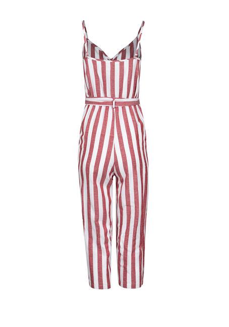 Women's Stripe Jumpsuit, RUST/IVORY, hi-res