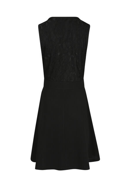 Ladies' Lace Fit & Flare Dress, BLACK, hi-res