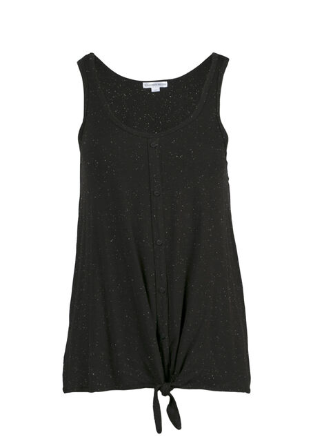 Women's Speckled Tie Front Tank