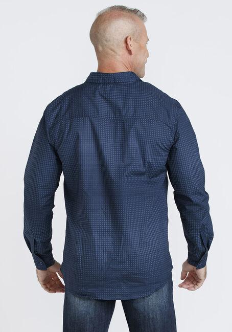 Men's Grid Pattern Shirt, NAVY, hi-res