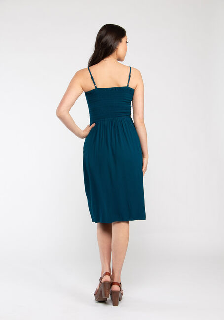 Women's Smocked Midi Dress, TEAL, hi-res