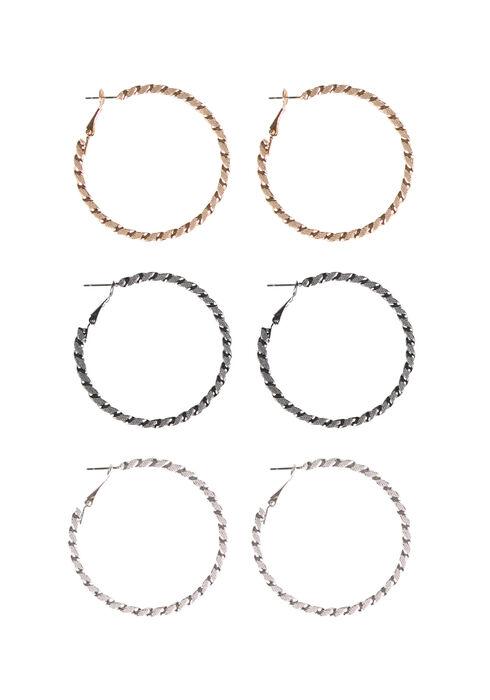 Ladies' Etched Hoop Earring, MIXED METALS, hi-res