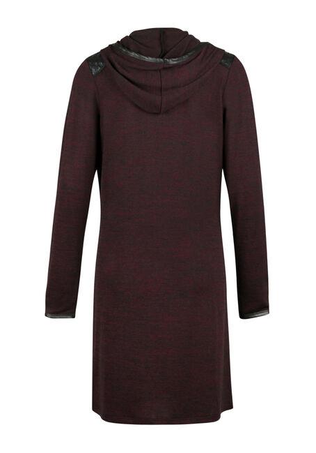 Ladies' Hooded Duster, WINE/BLACK, hi-res