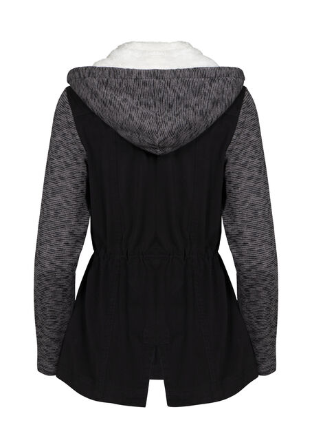 Women's Hooded Utility Jacket, BLACK, hi-res