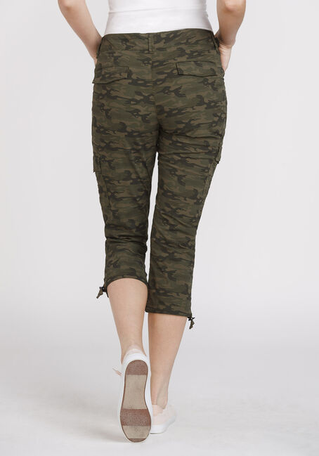 Women's Camo Cargo Crop, DARK OLIVE, hi-res