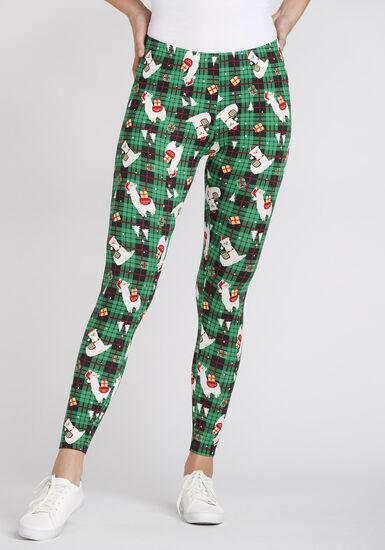 Women's Llama Print Holiday Legging, JELLY BEAN, hi-res