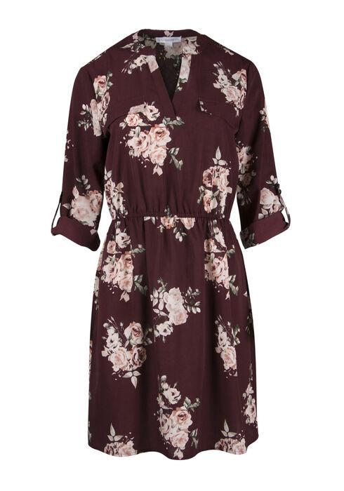 Ladies' Floral Shirt Dress, BURGUNDY/PINK, hi-res