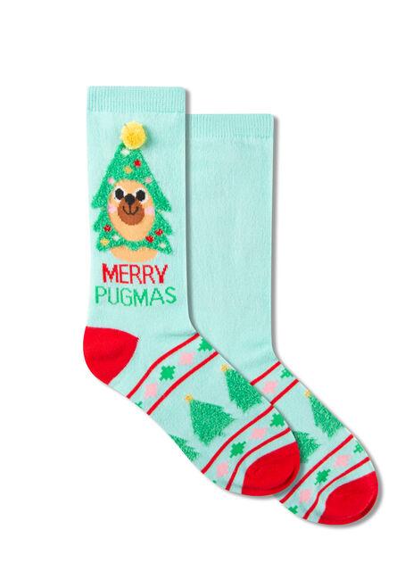 Women's Merry Pugmas Crew Socks