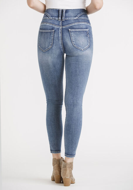 Women's High Rise 3 Button Skinny Jeans, MEDIUM WASH, hi-res