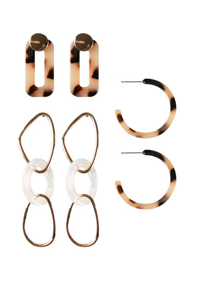 Women's 3 Pair Earring Set, GOLD, hi-res