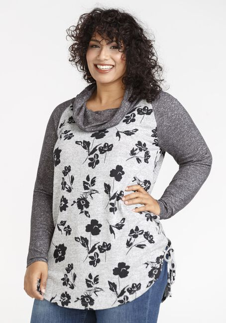 Women's Floral Hacci Cowl Neck Tunic