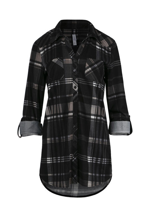 Women's Relaxed Fit Knit Plaid Shirt, BLACK, hi-res