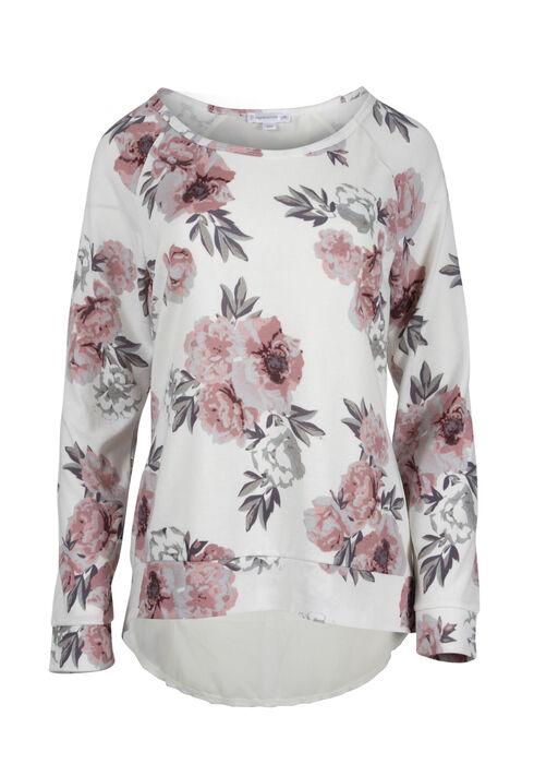 Ladies' Floral Chiffon Insert Top, IVORY, hi-res