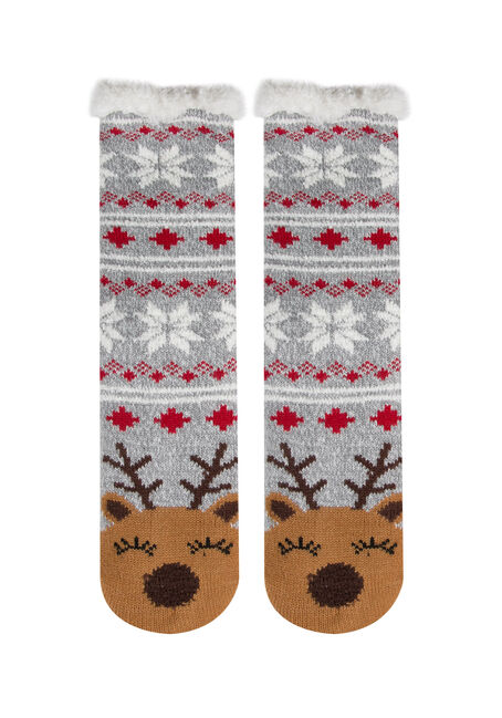 Ladies'  Reindeer Slipper Socks