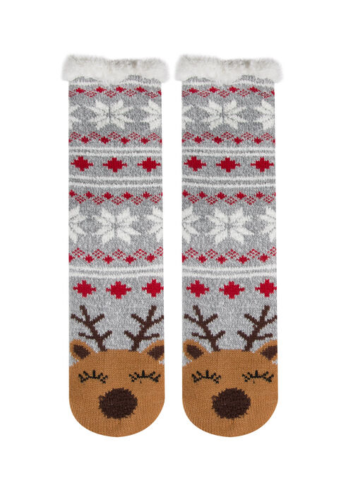 Ladies'  Reindeer Slipper Socks, BROWN, hi-res