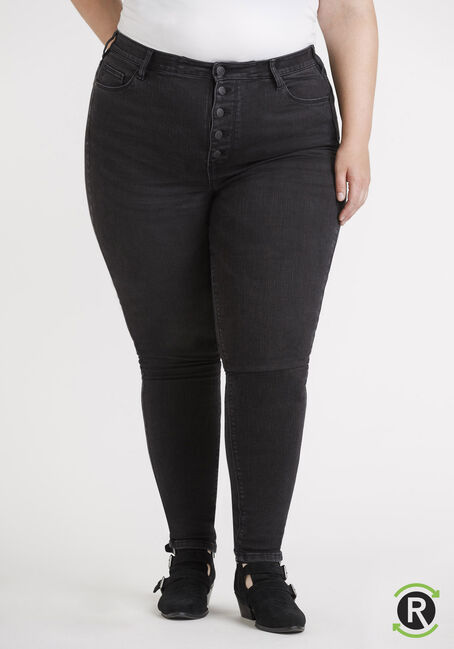 Women's Plus Size Black High Rise Exposed Button Skinny Jeans