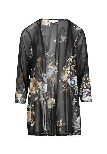 Women's Blue Floral Mesh Kimono, BLACK, hi-res