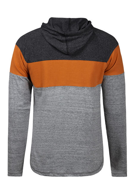 Men's Colour Block Hooded Tee, BASIN, hi-res