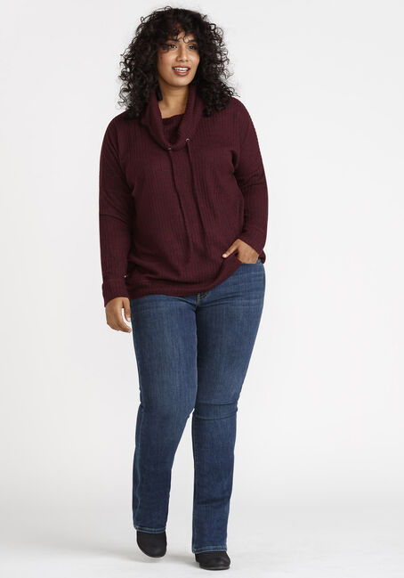 Women's Cowl Neck Top, WINE, hi-res