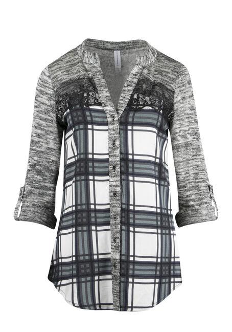 Ladies' Plaid Roll Sleeve Shirt