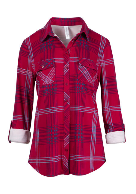 Women's Roll Sleeve Knit Plaid Shirt