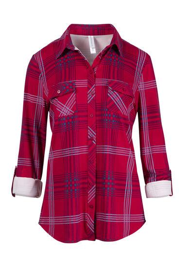 Women's Roll Sleeve Knit Plaid Shirt, CHERRY, hi-res