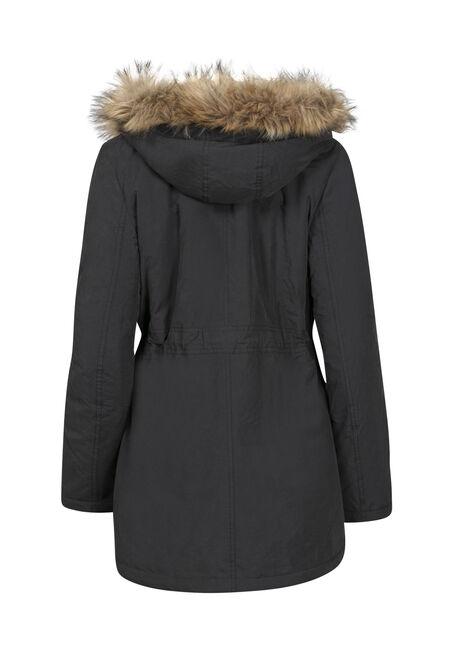 Women's Hooded Anorak Jacket, BLACK, hi-res