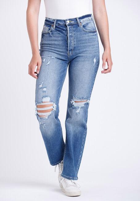 Women's Super High Rise Distress Dad Jeans