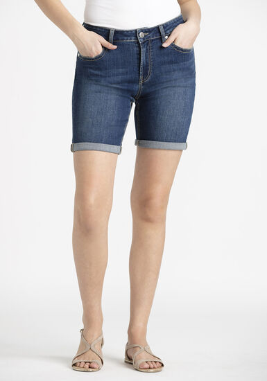 Women's Slim Bermuda Cuffed Short, DARK WASH, hi-res