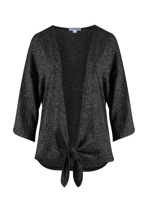 Ladies' Tie Front Cardigan, CHARCOAL, hi-res
