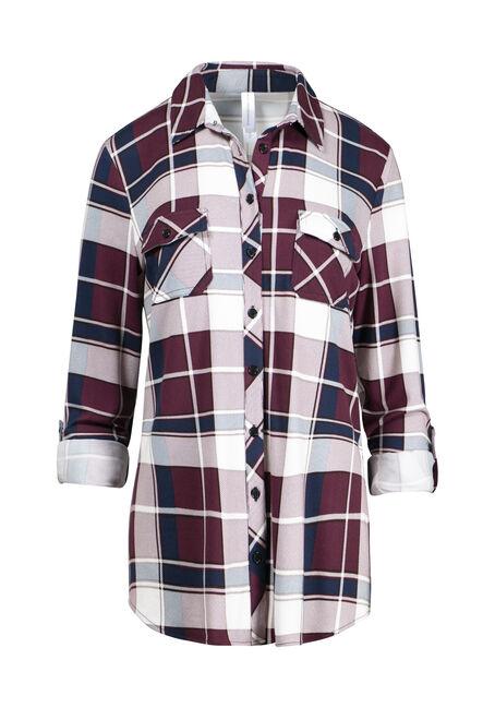 Women's Burgundy Knit Plaid Shirt
